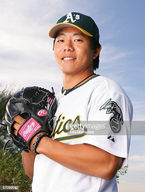 Shane Komine of the Oakland Athletics poses for a portrait during Oakland Athletics Photo Day on February 27 2006 at Papago Park in Phoenix Arizona