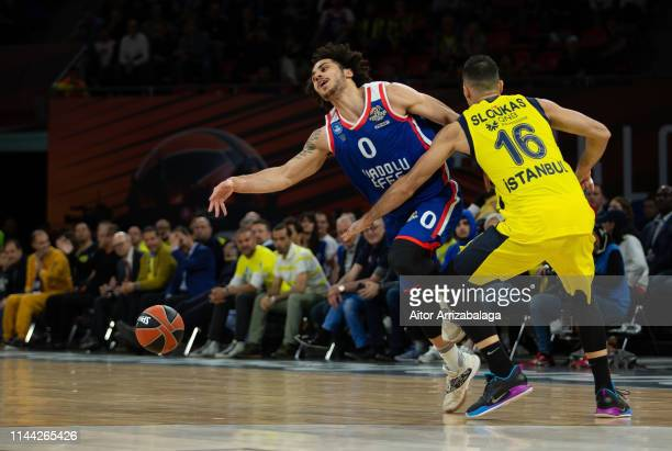 Shane Larkin #0 of Anadolu Efes Istanbul competes with Kostas Sloukas #16 of Fenerbahce Beko Istanbul during 2019 Turkish Airlines EuroLeague Final...