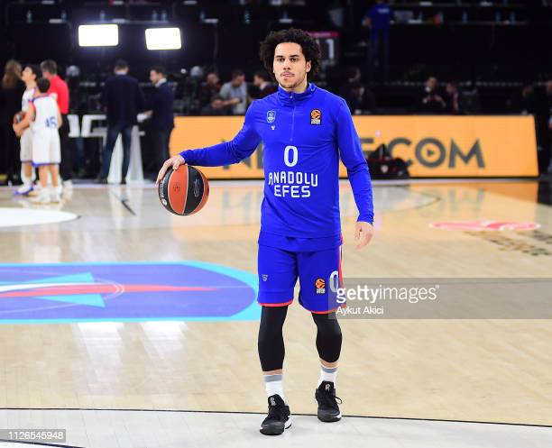 Shane Larkin #0 of Anadolu Efes Istanbul warmsup prior to the 2018/2019 Turkish Airlines EuroLeague Regular Season Round 23 game between Anadolu Efes...