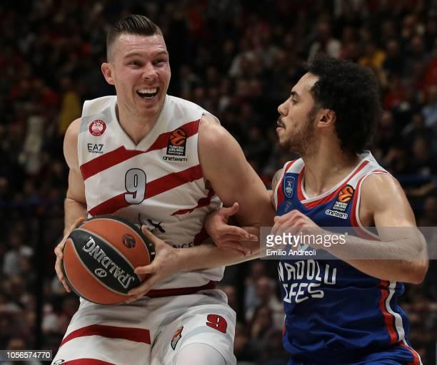 Shane Larkin of Anadolu Efes Istanbul defends against Dairis Bertans of AX Armani Exchange Olimpia Milan during the Turkish Airlines EuroLeague...
