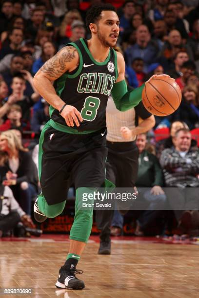 Shane Larkin of the Boston Celtics handles the ball against the Detroit Pistons on December 10 2017 at Little Caesars Arena in Detroit Michigan NOTE...