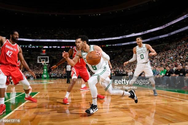 Shane Larkin of the Boston Celtics handles the ball against the Houston Rockets on December 28 2017 at the TD Garden in Boston Massachusetts NOTE TO...