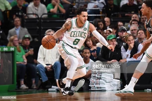 Shane Larkin of the Boston Celtics handles the ball against the San Antonio Spurs on October 30 2017 at the TD Garden in Boston Massachusetts NOTE TO...