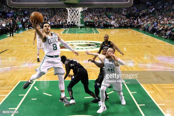 Shane Larkin of the Boston Celtics takes a shot against the Milwaukee Bucks during Game Five in Round One of the 2018 NBA Playoffs at TD Garden on...