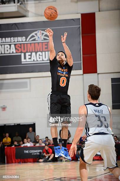 Shane Larkin of the New York Knicks shoots the ball against the Dallas Mavericks at the Samsung NBA Summer League 2014 on July 11 2014 at the Cox...