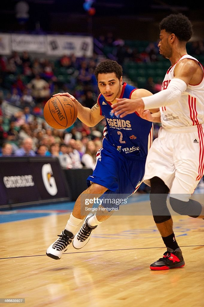 Shane Larkin #2 of the Texas Legends dribbles the ball during the game against the Rio Grande Valley Vipers on February 1, 2014 at Dr. Pepper Arena in Frisco, Texas.