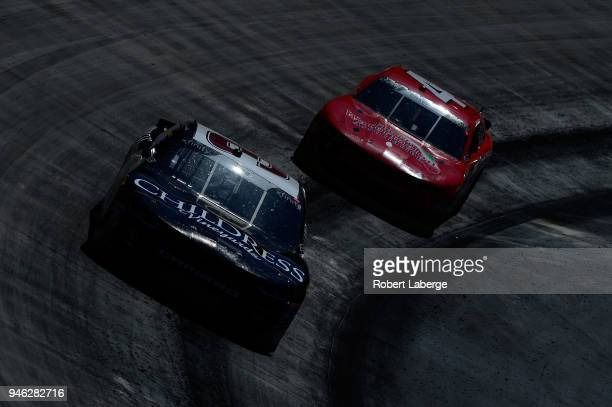 Shane Lee driver of the Childress Vineyards Chevrolet leads Ross Chastain driver of the Florida Watermelon Association Chevrolet during the NASCAR...