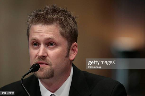 Shane Lee, former natural gas trader at Amaranth LLC, testifies before the Senate Homeland Security and Government Affairs Committee on Capitol Hill...