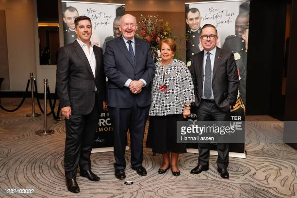 Shane Lloyd, Peter Cosgrove, Former Governor-General of Australia, his wife Lynne Cosgrove and Alan Joyce, Chief Executive Officer of Qantaspose...