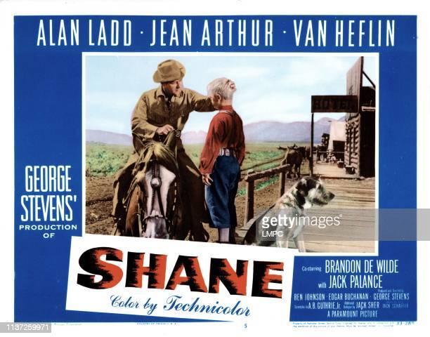 Shane lobbycard from left Alan Ladd Brandon de Wilde 1953