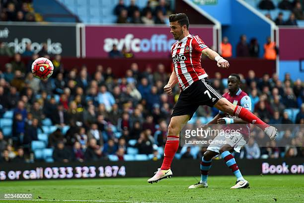 Shane Lonf of Southampton scores the opening goal during the Barclays Premier League match between Aston Villa and Southampton at Villa Park on April...