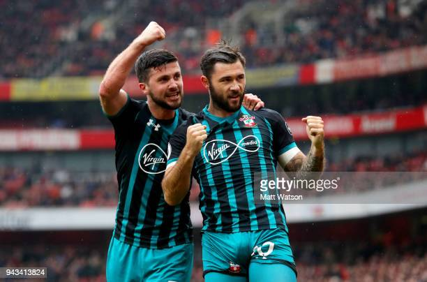 Shane Long and Charlie Austin of Southampton during the Premier League match between Arsenal and Southampton at Emirates Stadium on April 8 2018 in...