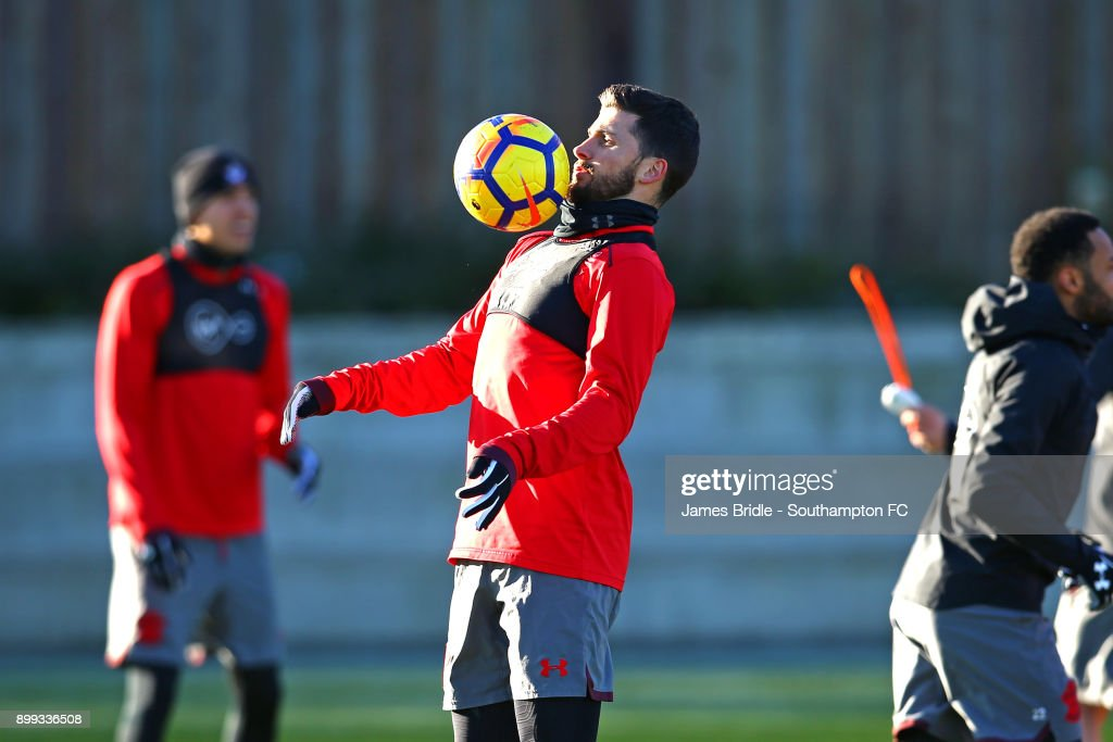 Shane Long in action during a Southampton FC training session at Staplewood Complex on December 28, 2017 in Southampton, England.
