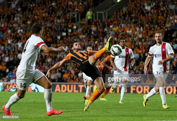Shane Long of Hull City controls the ball during the UEFA Europa League third qualifying round: second leg match between Hull City and AS Trencin at...