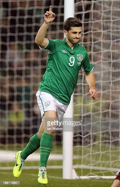 Shane Long of Ireland celebrates scoring a goal during the International Friendly match between Republic of Ireland and Latvia at Aviva Stadium on...