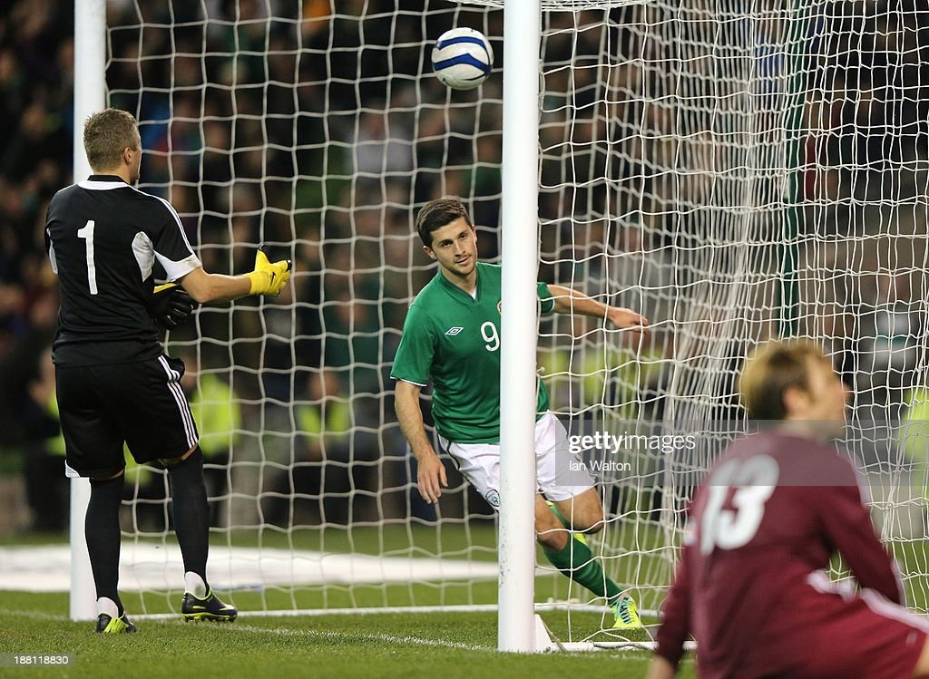 Shane Long of Ireland celebrates scoring a goal during the International Friendly match between Republic of Ireland and Latvia at Aviva Stadium on November 15, 2013 in Dublin, Ireland.
