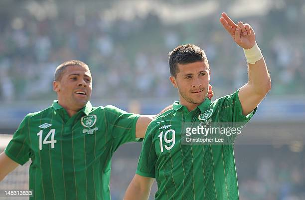 Shane Long of Ireland celebrates with teammate Jonathan Walters after scoring the winning goal during the International Friendly between Republic of...