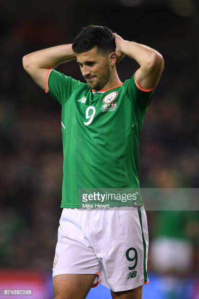 Shane Long of Ireland reacts during the FIFA 2018 World Cup Qualifier PlayOff Second Leg between Republic of Ireland and Denmark at Aviva Stadium on...