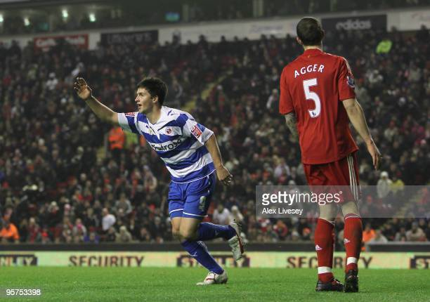 Shane Long of Reading celebrates scoring his team's second goal during the FA Cup sponsored by EON 3rd Round Replay match between Liverpool and...