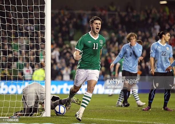 Shane Long of Republic of Ireland celebrates scoring a goal during the International Friendly match between Republic of Ireland and Uruguay at the...