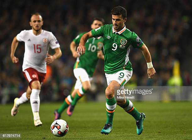 Shane Long of Republic of Ireland in action during the FIFA 2018 World Cup Group D Qualifier between Republic of Ireland and Georgia at Aviva Stadium...