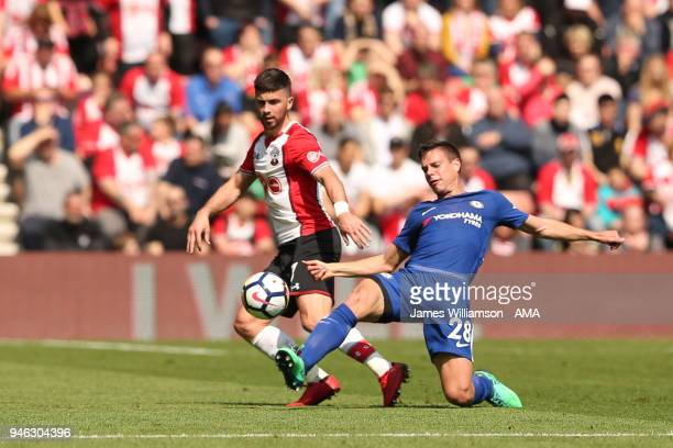 Shane Long of Southampton and Cesar Azpilicueta of Chelsea during the Premier League match between Southampton and Chelsea at St Mary's Stadium on...