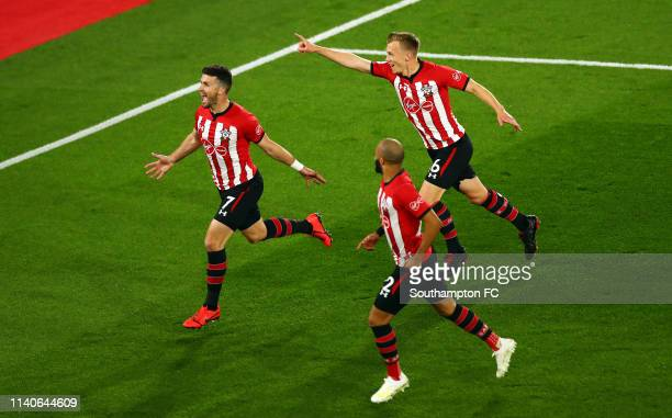 Shane Long of Southampton celebrates after he scores his sides first goal during the Premier League match between Southampton FC and Liverpool FC at...