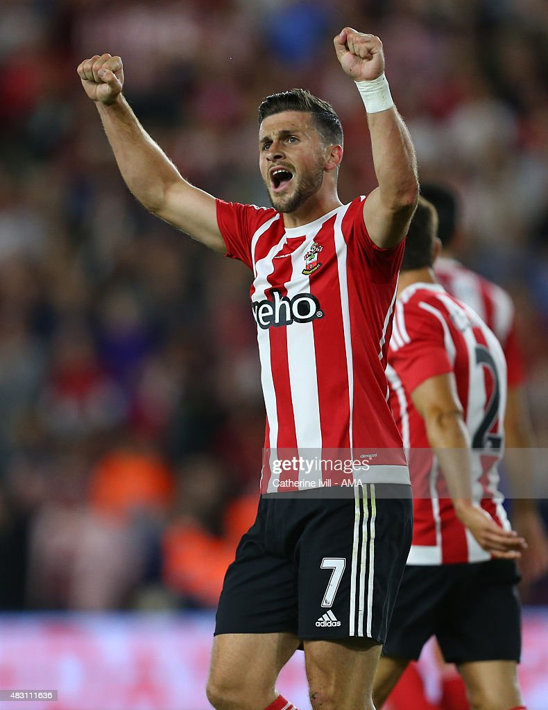 Shane Long of Southampton celebrates after he scores to make it 3-0 during the UEFA Europa League Qualifier between Southampton and Vitesse at St Mary's Stadium on July 30, 2015 in Southampton, England.
