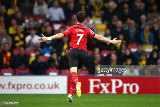 Shane Long of Southampton celebrates after scoring his team's first goal during the Premier League match between Watford FC and Southampton FC at...