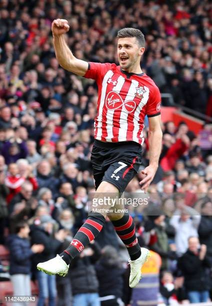 Shane Long of Southampton celebrates after scoring his team's third goal during the Premier League match between Southampton FC and Wolverhampton...