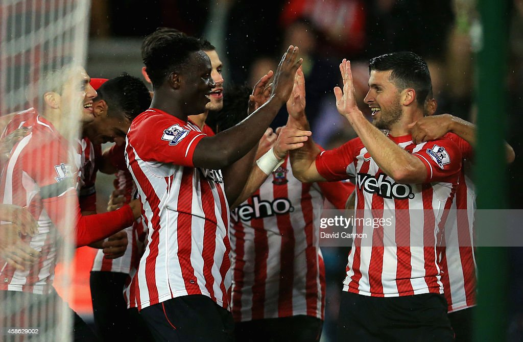 Shane Long of Southampton celebrates scoring a goal with Victor Wanyama of Southampton during the Barclays Premier League match between Southampton and Leicester City at St Mary's Stadium on November 8, 2014 in Southampton, England.