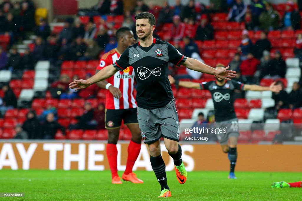 Shane Long of Southampton celebrates scoring his side's fourth goal during the Premier League match between Sunderland and Southampton at Stadium of Light on February 11, 2017 in Sunderland, England.
