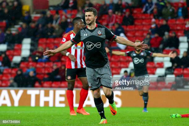 Shane Long of Southampton celebrates scoring his side's fourth goal during the Premier League match between Sunderland and Southampton at Stadium of...