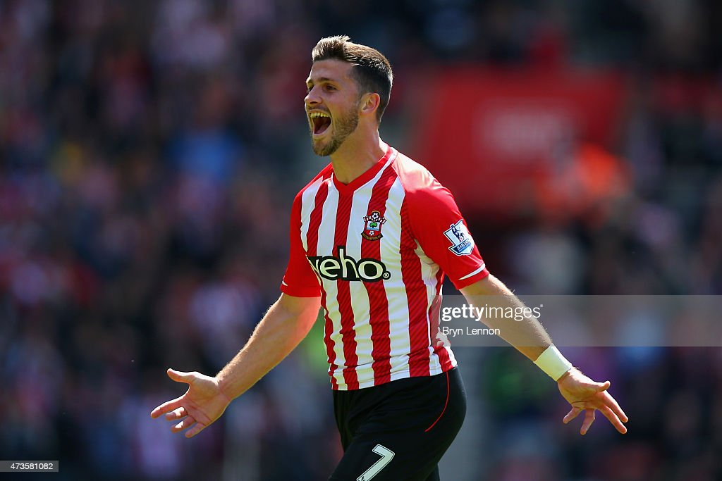 Shane Long of Southampton celebrates scoring his team's fifth goal during the Barclays Premier League match between Southampton and Aston Villa at St Mary's Stadium on May 16, 2015 in Southampton, England.