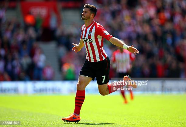 Shane Long of Southampton celebrates scoring his team's fifth goal during the Barclays Premier League match between Southampton and Aston Villa at St...