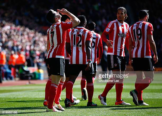 Shane Long of Southampton celebrates scoring his team's first goal with his team mates during the Barclays Premier League match between Southampton...