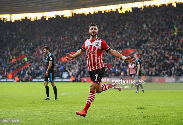 Shane Long of Southampton celebrates scoring the opening goal during the Premier League match between Southampton and West Bromwich Albion at St...
