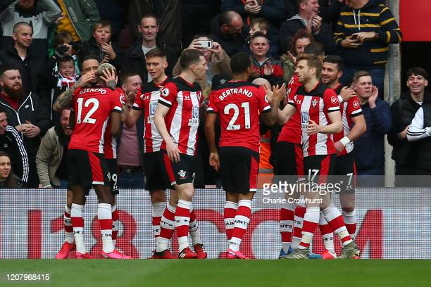 Shane Long of Southampton celebrates Stuart Armstrong, Ryan Bertrand and Moussa Djenepo with teammates after scoring his team's first goal during the...