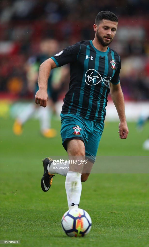 Shane Long of Southampton during the Pre Season Friendly match between Brentford and Southampton at Griffin Park on July 22, 2017 in Brentford, England.