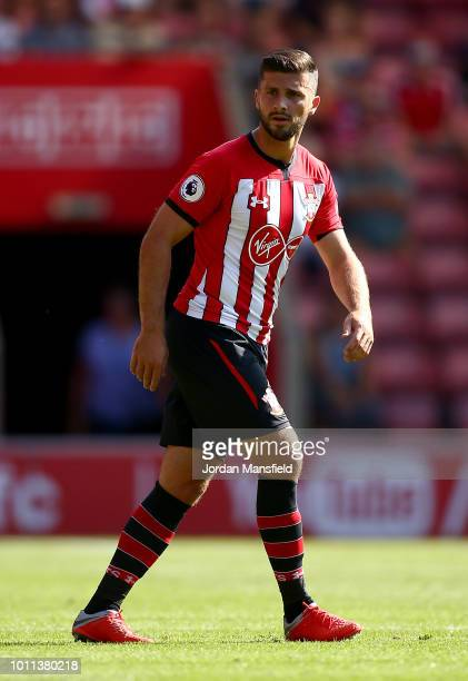 Shane Long of Southampton during the preseason friendly match between Southampton v Borussia Monchengladbach at St Mary's Stadium on August 4 2018 in...