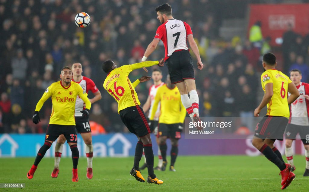 Shane Long of Southampton FC jumps the highest during the FA Cup 4th round match between Southampton FC and Watford, at St Mary's Stadium on January 27, 2018 in Southampton, England.