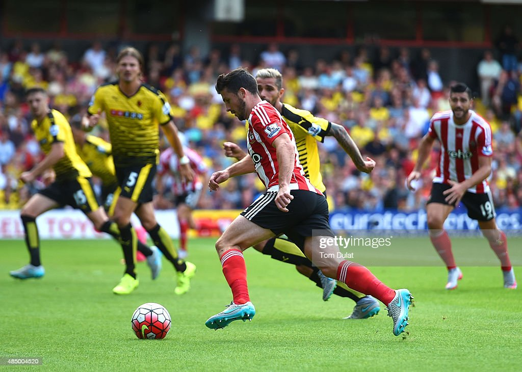 Shane Long of Southampton in action during the Barclays premier League match between Watford and Southampton at Vicarage Road on August 23, 2015 in Watford, England.