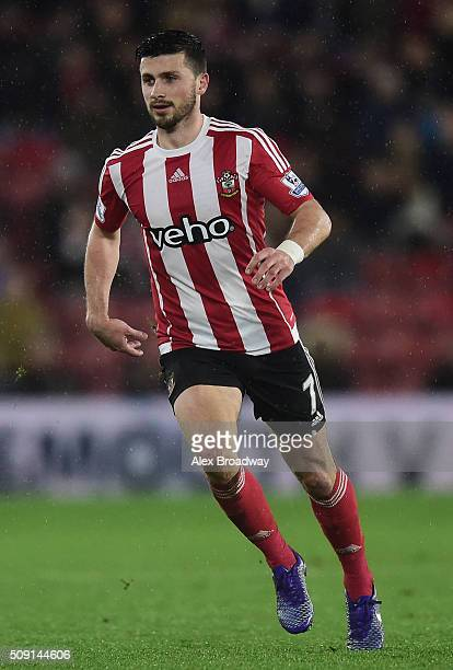 Shane Long of Southampton in action during the Barclays Premier League match between Southampton and West Ham United at St Mary's Stadium on February...
