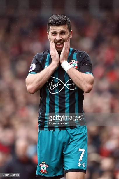 Shane Long of Southampton looks on during the Premier League match between Arsenal and Southampton at Emirates Stadium on April 8 2018 in London...