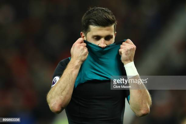Shane Long of Southampton reacts during the Premier League match between Manchester United and Southampton at Old Trafford on December 30 2017 in...