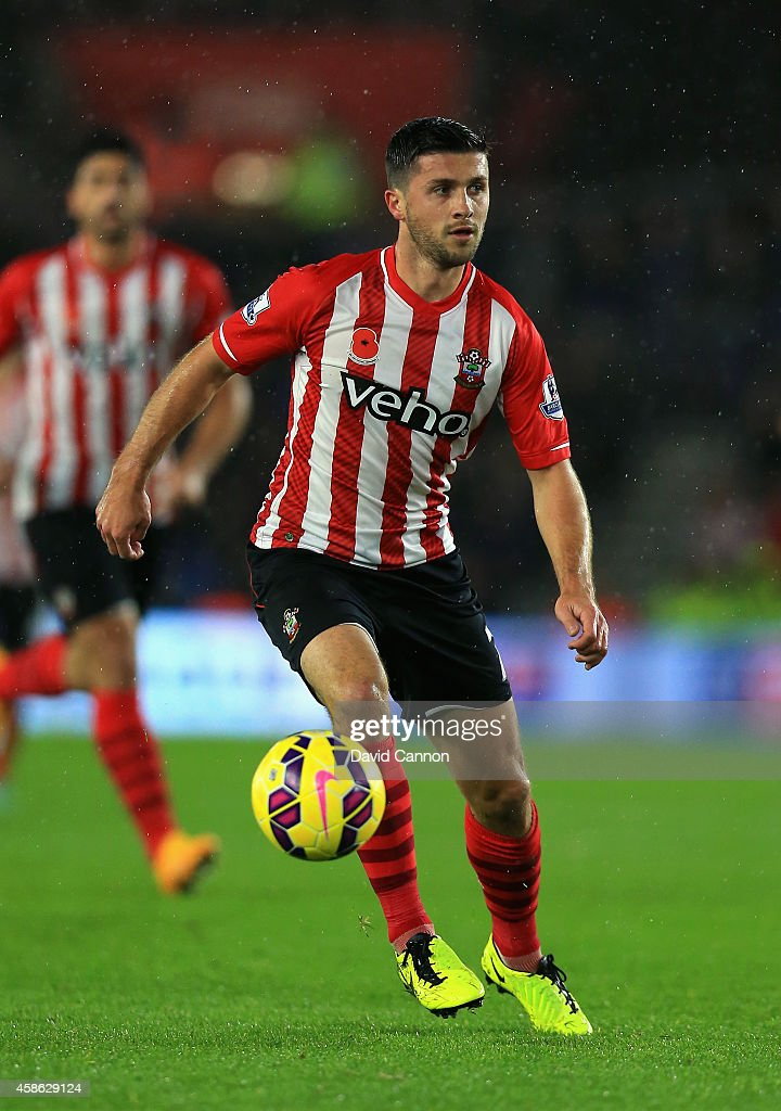 Shane Long of Southampton runs with the ball on his way to score his second goal during the Barclays Premier League match between Southampton and Leicester City at St Mary's Stadium on November 8, 2014 in Southampton, England.