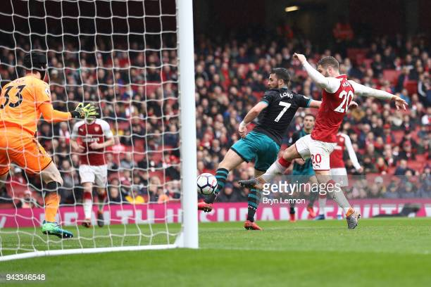 Shane Long of Southampton scores his sides first goal during the Premier League match between Arsenal and Southampton at Emirates Stadium on April 8...
