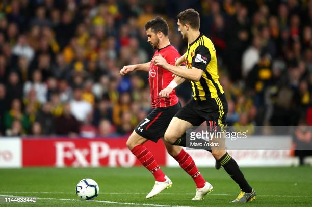 Shane Long of Southampton scores his team's first goal during the Premier League match between Watford FC and Southampton FC at Vicarage Road on...