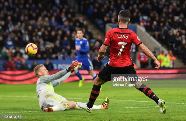 Shane Long of Southampton scores his team's second goal during the Premier League match between Leicester City and Southampton FC at The King Power...