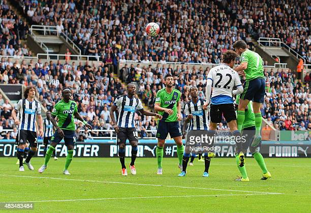 Shane Long of Southampton scores their seocnd goal during the Barclays Premier League match between Newcastle United and Southampton at St James'...